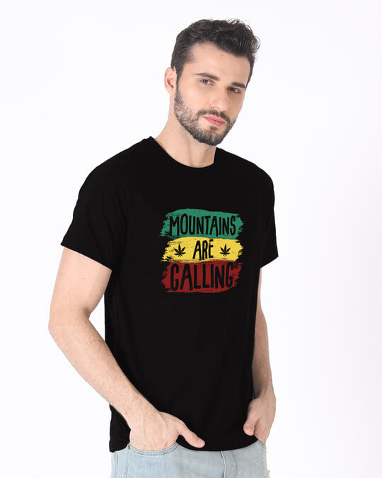 Shop Mountains Are Calling Rasta Half Sleeve T-Shirt-Full