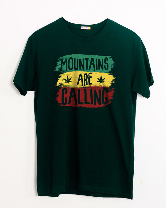 Shop Mountains Are Calling Rasta Half Sleeve T-Shirt-Front