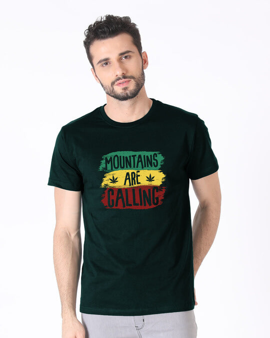 Shop Mountains Are Calling Rasta Half Sleeve T-Shirt-Back