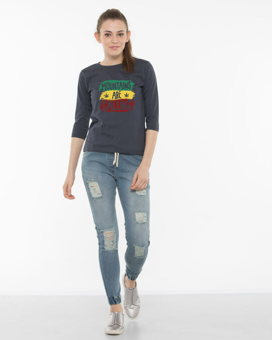 Shop Mountains Are Calling Rasta Round Neck 3/4th Sleeve T-Shirt