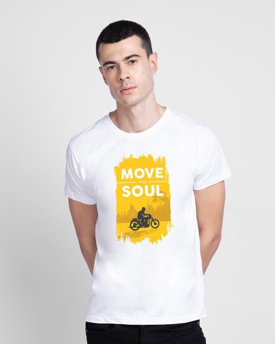 Shop Move The Soul Biker Half Sleeve T-Shirt White-Back