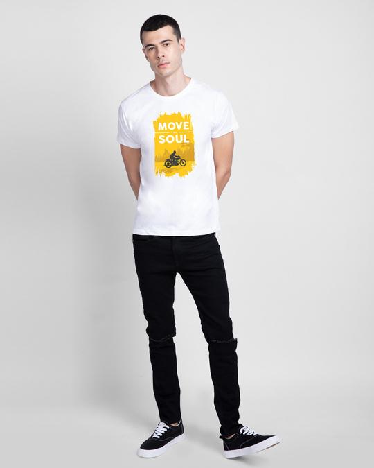 Shop Move The Soul Biker Half Sleeve T-Shirt White-Full