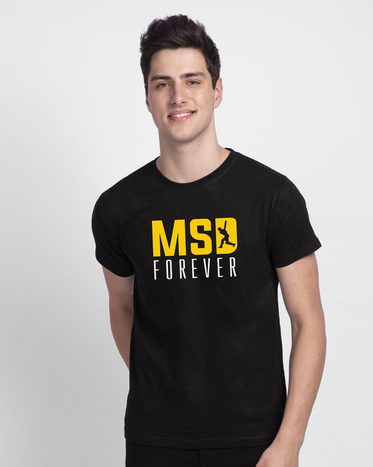 Shop MSD Forever Front-Back Half Sleeve T-Shirt Black-Back