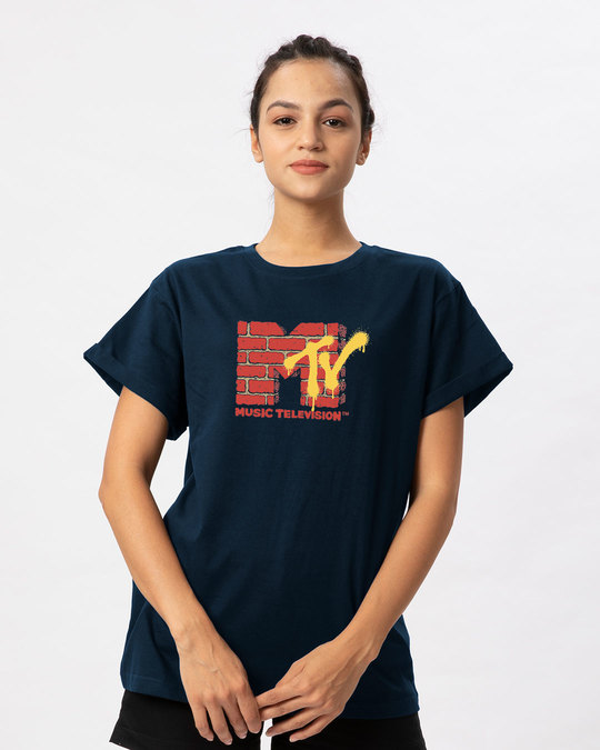 Shop Mtv Wall Boyfriend T-Shirt (MTL)-Front