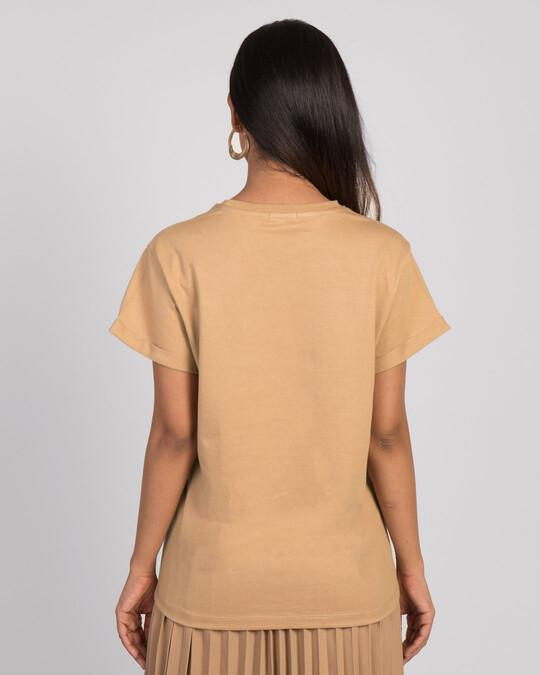 Shop Mulan Flower Gold Print Boyfriend T-Shirt (DL)-Back