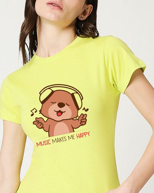 Shop Music Bear Half Sleeve Printed T-Shirt Neo Mint-Front