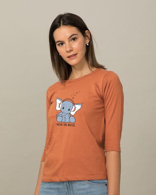 Shop Music Elephant Round Neck 3/4th Sleeve T-Shirt-Back