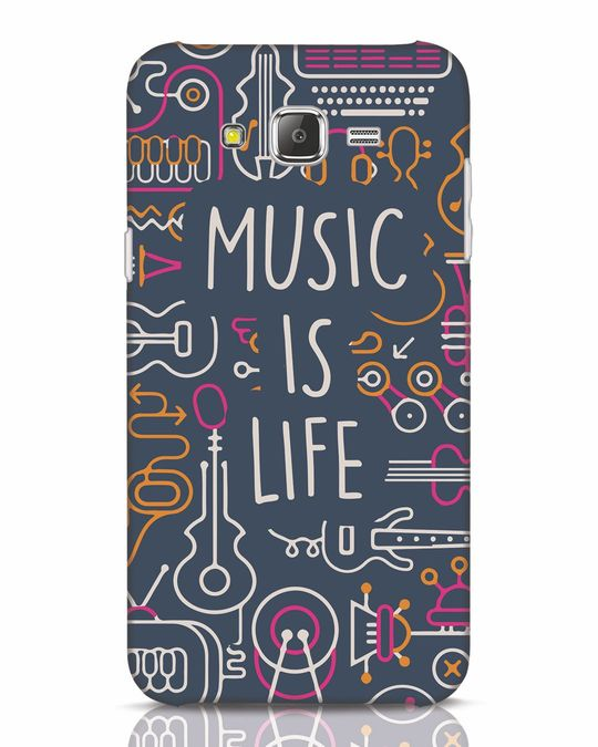 Shop Music Is Life Doodle Samsung Galaxy J7 Mobile Cover-Front