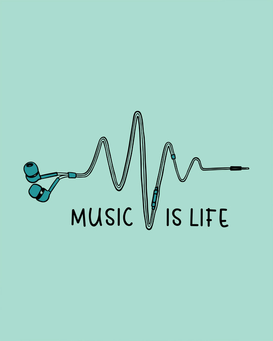 Shop Music Is Life Earphones Full Sleeve T-Shirt