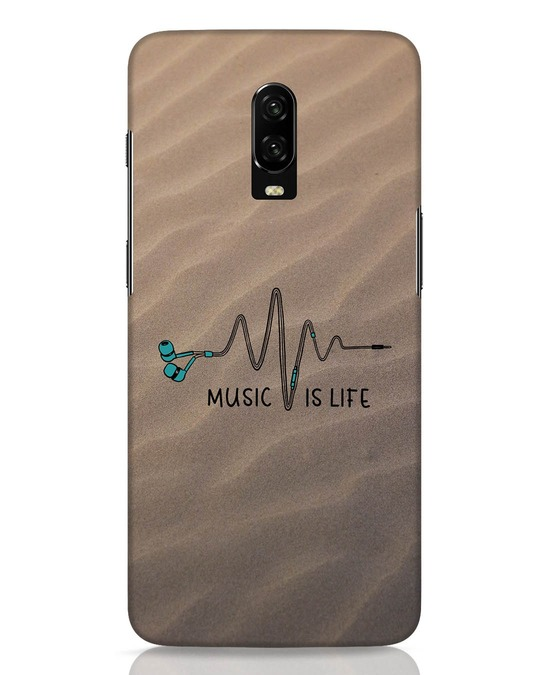 Shop Music Is Life OnePlus 6T Mobile Cover-Front
