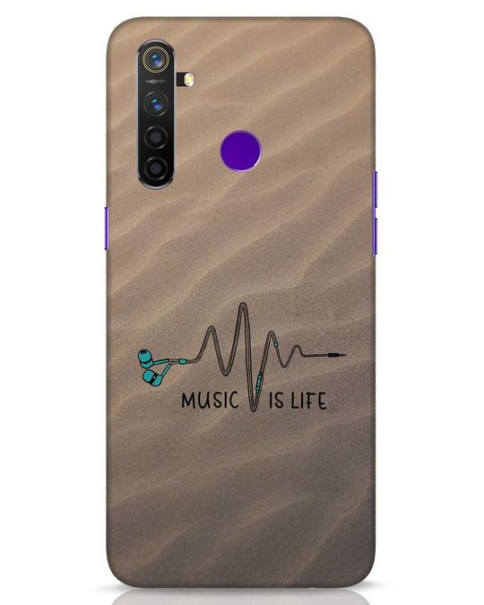 Shop Music Is Life Realme 5 Pro Mobile Cover-Front