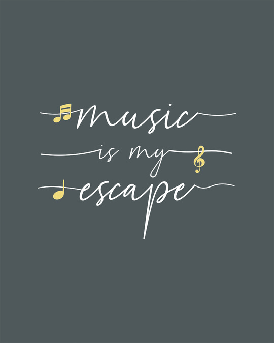 Shop Music Is My Escape Round Neck 3/4th Sleeve T-Shirt