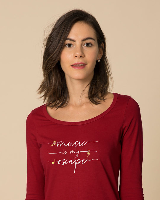 Shop Music Is My Escape Scoop Neck Full Sleeve T-Shirt-Front