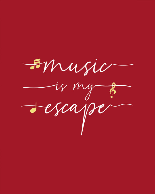 Shop Music Is My Escape Scoop Neck Full Sleeve T-Shirt