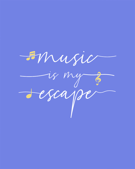 Shop Music Is My Escape Scoop Neck Full Sleeve T-Shirt-Full