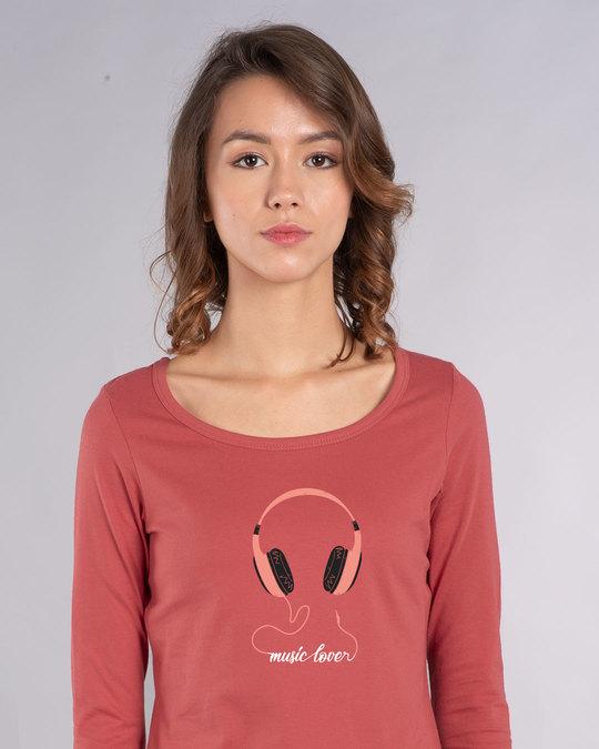 Shop Music Lover - Headphones Scoop Neck Full Sleeve T-Shirt-Front