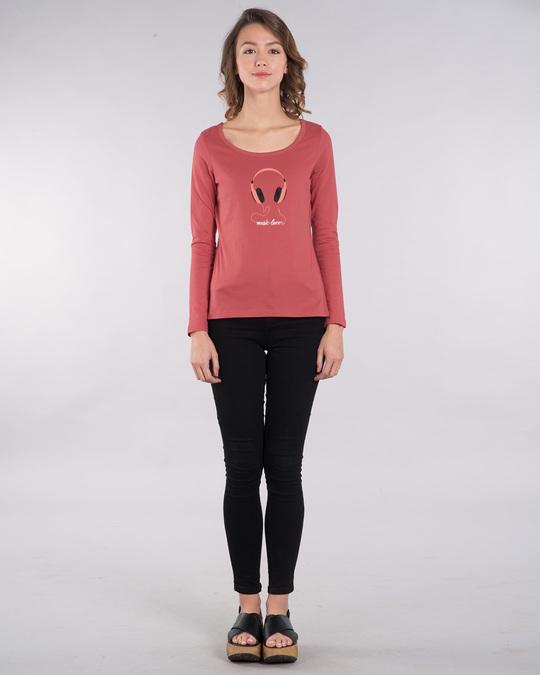 Shop Music Lover - Headphones Scoop Neck Full Sleeve T-Shirt-Design