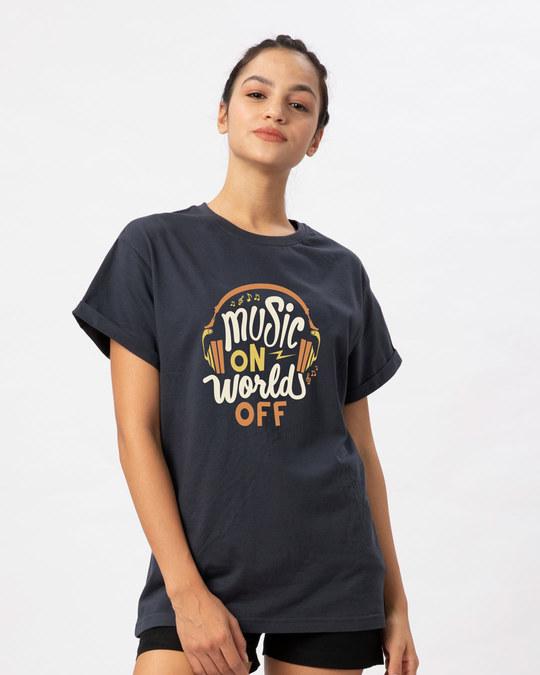 Shop Music On World Boyfriend T-Shirt-Back