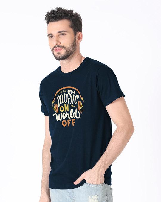 Shop Music On World Half Sleeve T-Shirt-Full