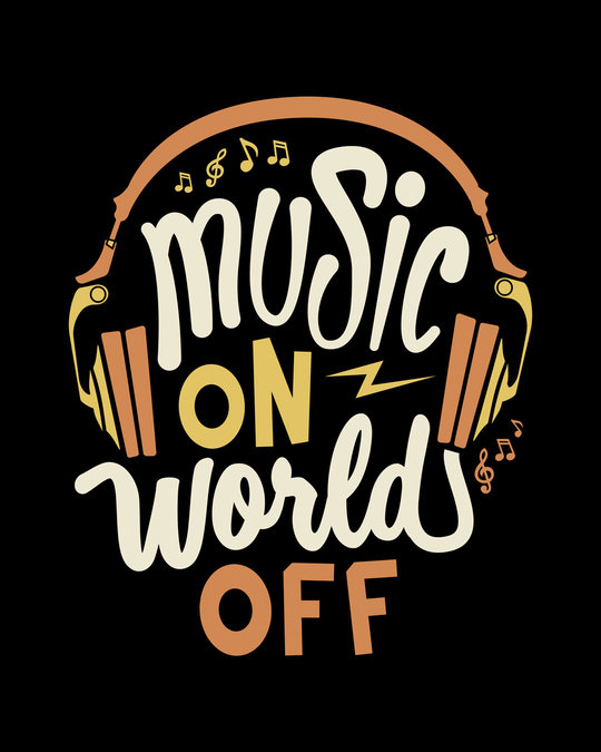 Shop Music On World Round Neck 3/4th Sleeve T-Shirt