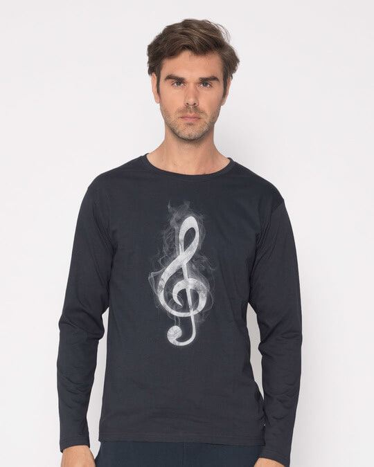 Shop Music Smoke Full Sleeve T-Shirt-Front