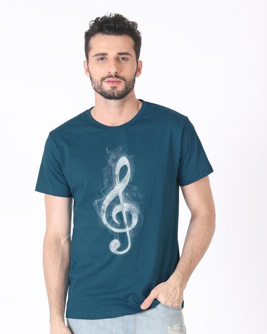 Shop Music Smoke Half Sleeve T-Shirt-Back