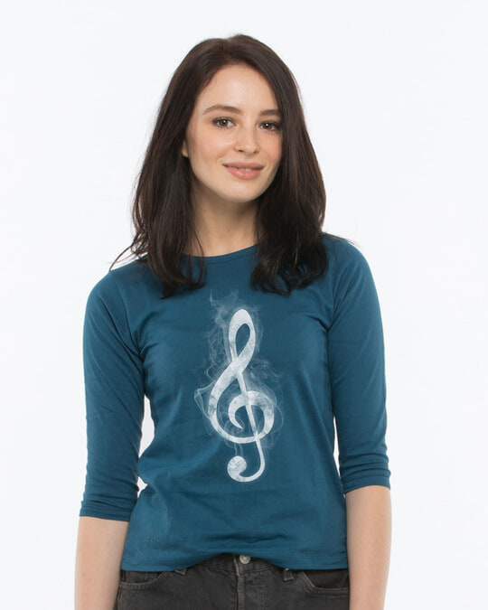 Shop Music Smoke Round Neck 3/4th Sleeve T-Shirt-Front