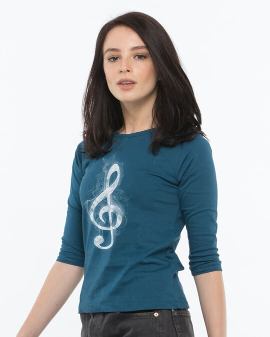 Shop Music Smoke Round Neck 3/4th Sleeve T-Shirt-Back