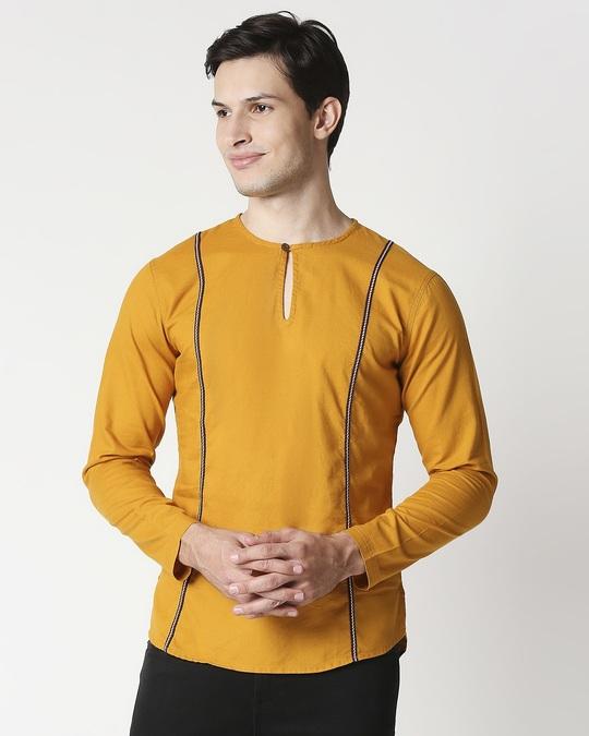 Shop Mustard Men's Cotton Oxford Solid Short Kurta-Back