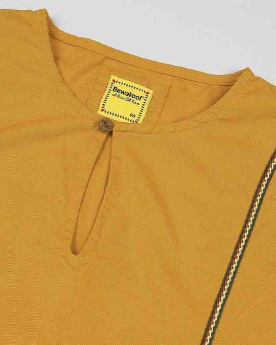 Shop Mustard Men's Cotton Oxford Solid Short Kurta