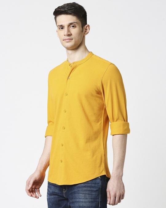 Shop Comfort Stretch Pique Knit Mustard Shirt-Design