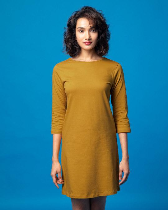 1bc17af83eeb Buy Mustard Yellow Plain 3 4 Sleeve T-Shirt Dress For Women Online ...