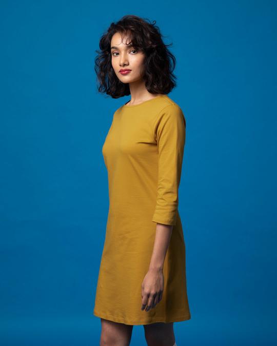 Shop Mustard Yellow Boat Neck 3/4th Sleeve T-Shirt Dress-Back