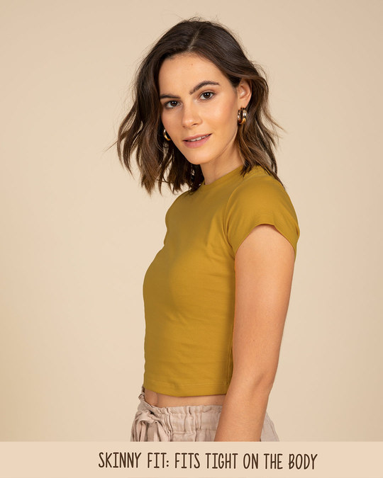 Shop Mustard Yellow Crop Top-Back