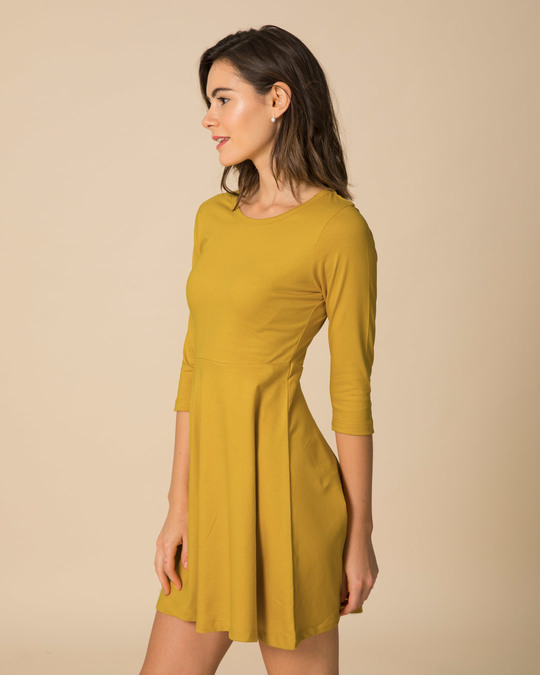 Shop Mustard Yellow Flared Dress-Back