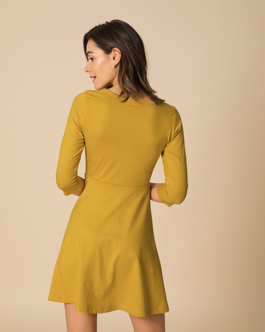 Shop Mustard Yellow Flared Dress-Design