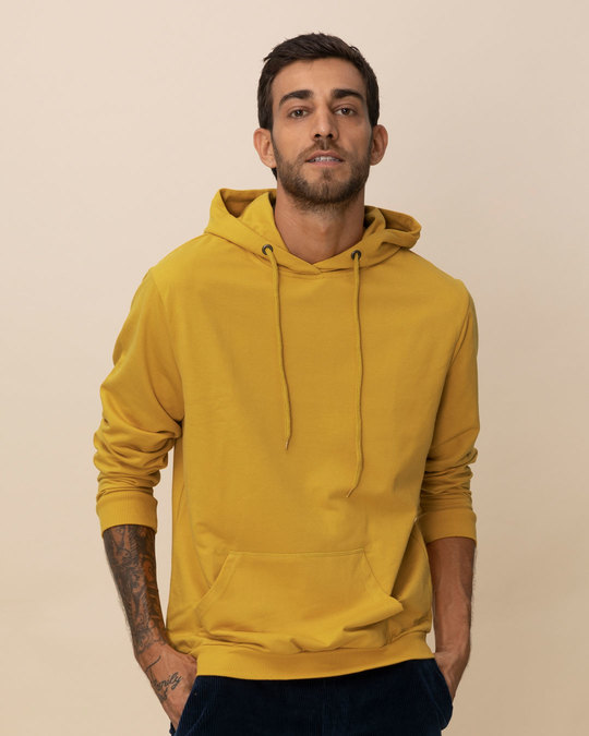 3cb32412 Buy Mustard Yellow Plain Full Sleeve Hoodies For Men Online India ...