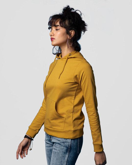Shop Mustard Yellow Fleece Hoodies-Back
