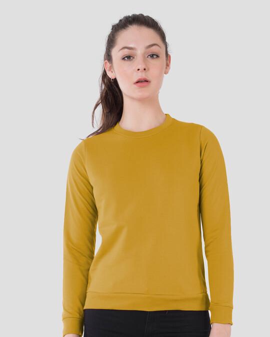 Shop Mustard Yellow Fleece Light Sweatshirt-Front