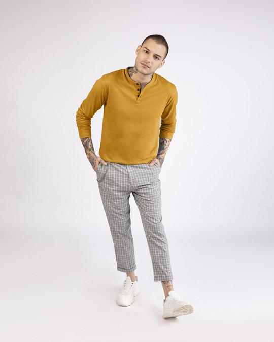 Shop Mustard Yellow Full Sleeve Henley T-Shirt-Full