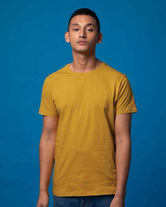 Shop Mustard Yellow Half Sleeve T-Shirt-Front