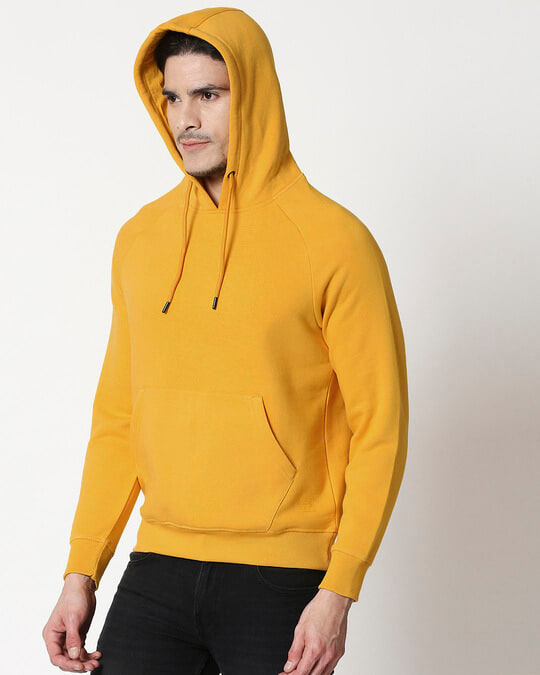 Shop Mustard Yellow Hoodie Sweatshirt-Back