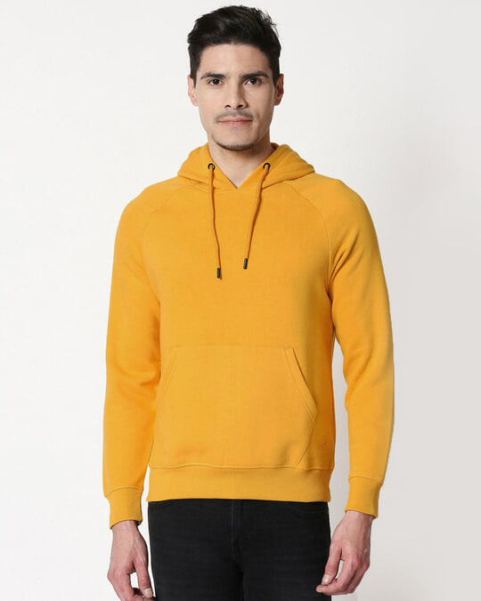 Shop Mustard Yellow Hoodie Sweatshirt-Front