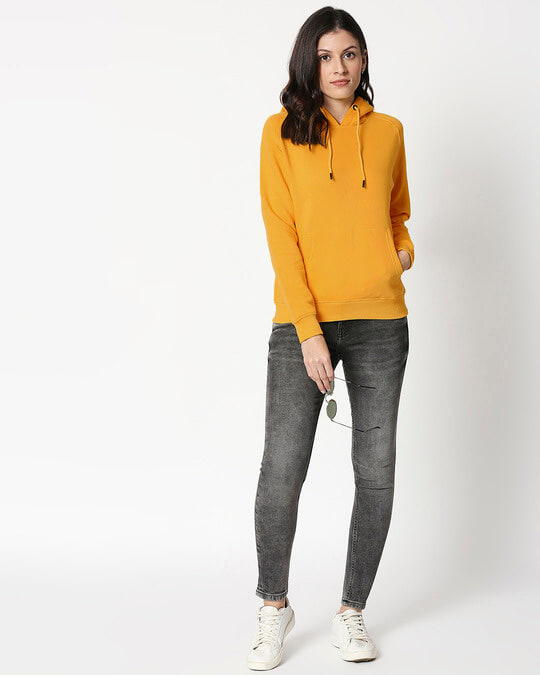 Shop Mustard Yellow Hoodie Sweatshirt-Full