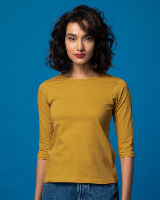 Shop Mustard Yellow Round Neck 3/4th Sleeve T-Shirt-Front