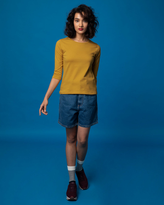 Shop Mustard Yellow Round Neck 3/4th Sleeve T-Shirt