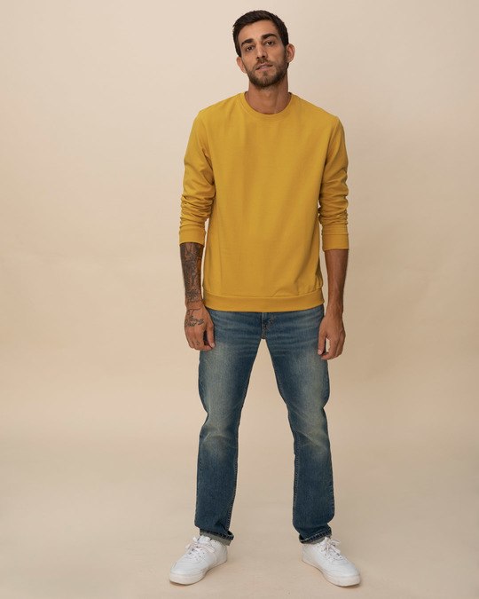 Shop Mustard Yellow Fleece Sweater-Full