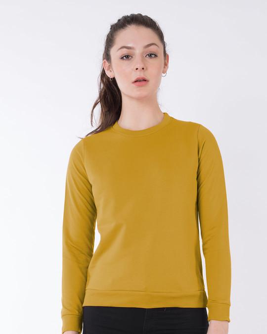 Shop Mustard Yellow Fleece Sweater-Front