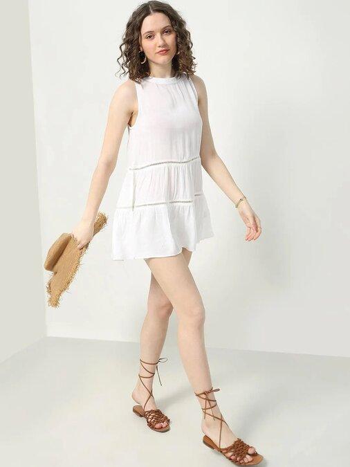 Shop Women A Line White Dress-Full