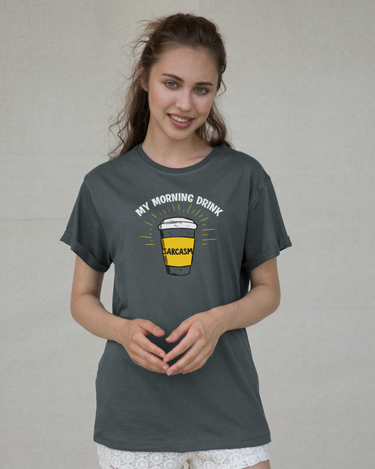 Shop My Morning Drink Boyfriend T-Shirt-Back